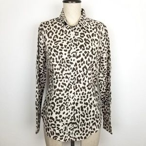 J. Crew Animal Print Linen Blend Perfect Shirt